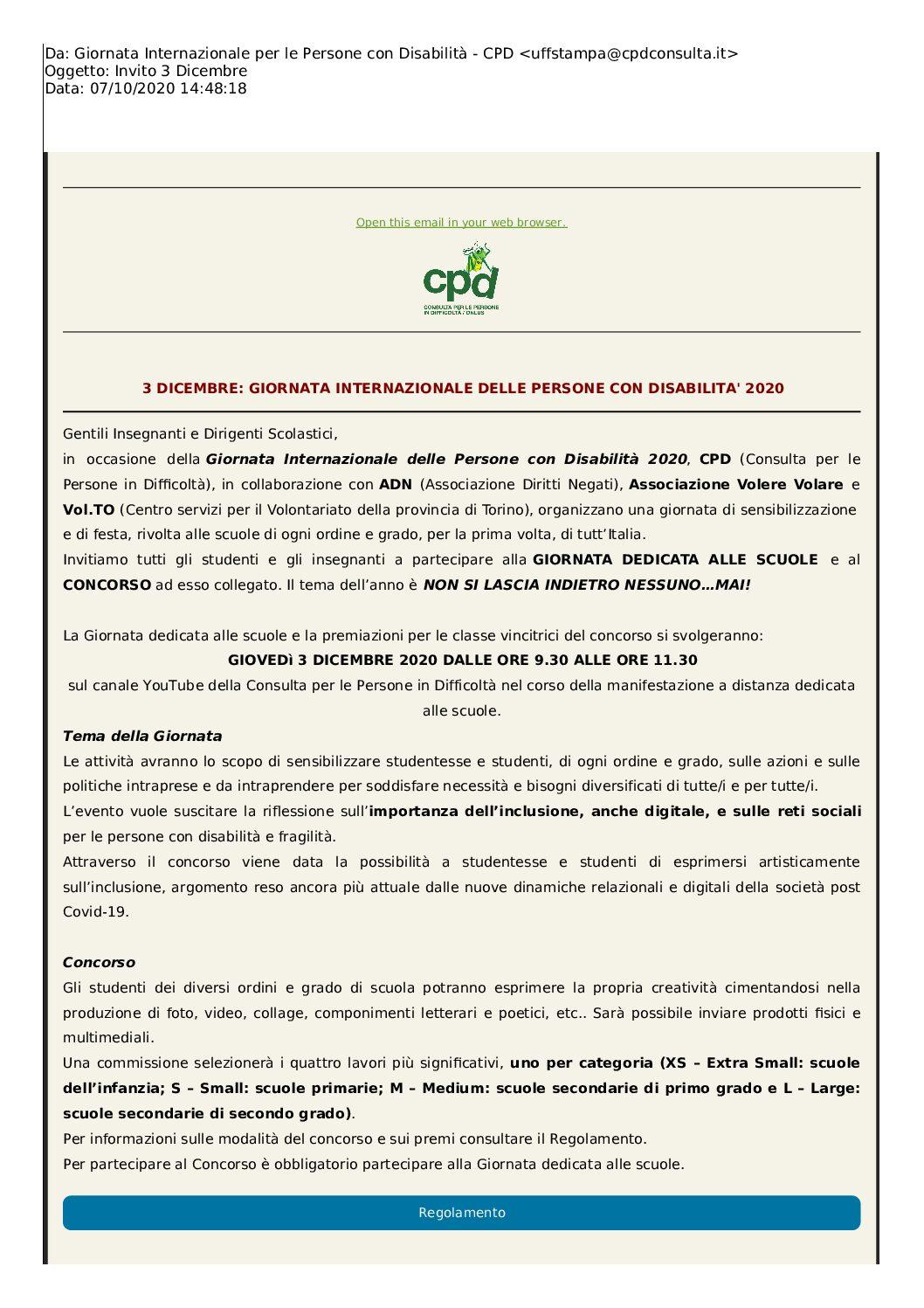 3 DICEMBRE: GIORNATA INTERNAZIONALE DELLE PERSONE CON DISABILITA' 2020