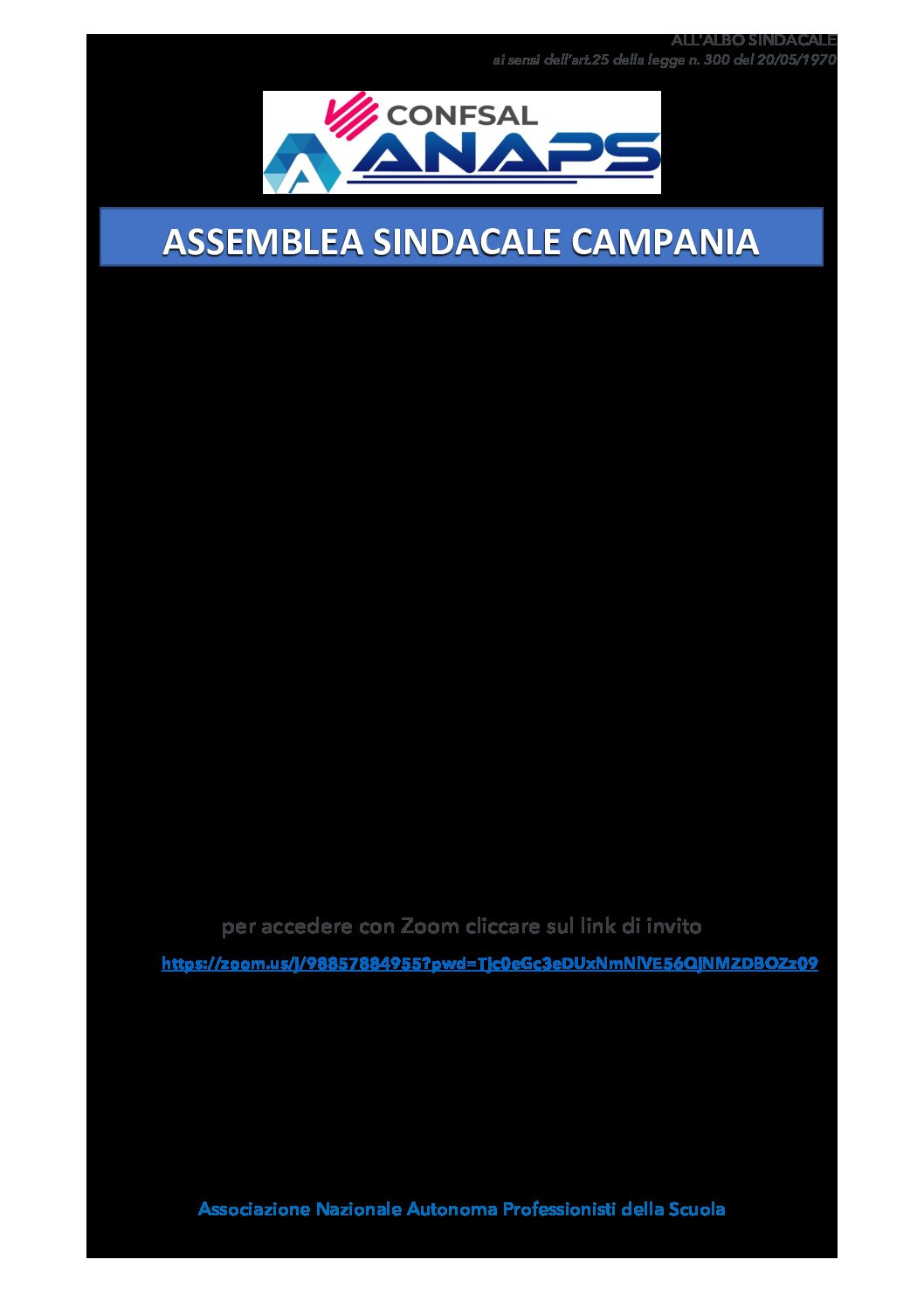 Assembela Sindacale Confsal Anaps Campania 26 Marzo 2021