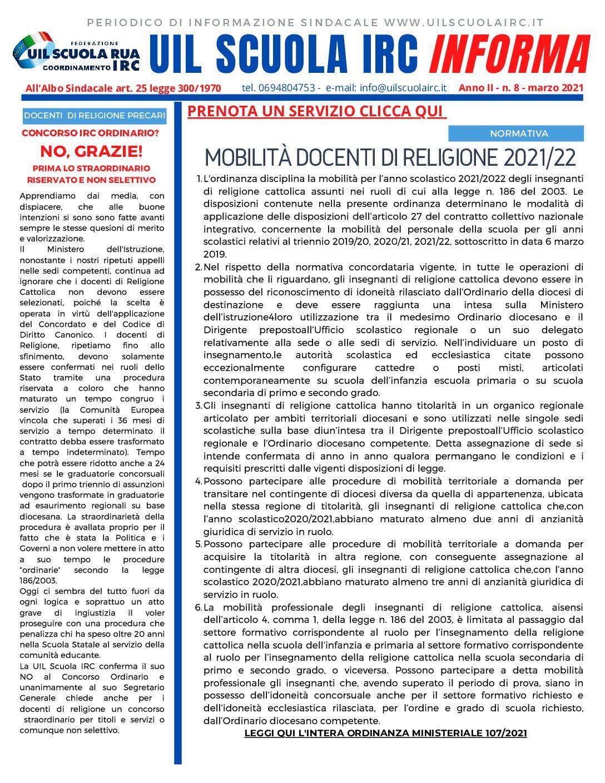 MOBILITÀ DOCENTI DI RELIGIONE 2021/22