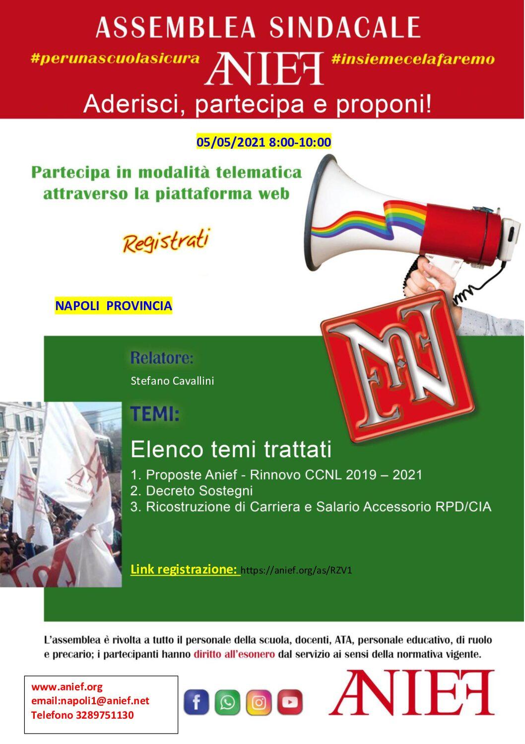 Convocazione di un'assemblea sindacale, in orario di servizio, del personale dell'istituzione scolastica