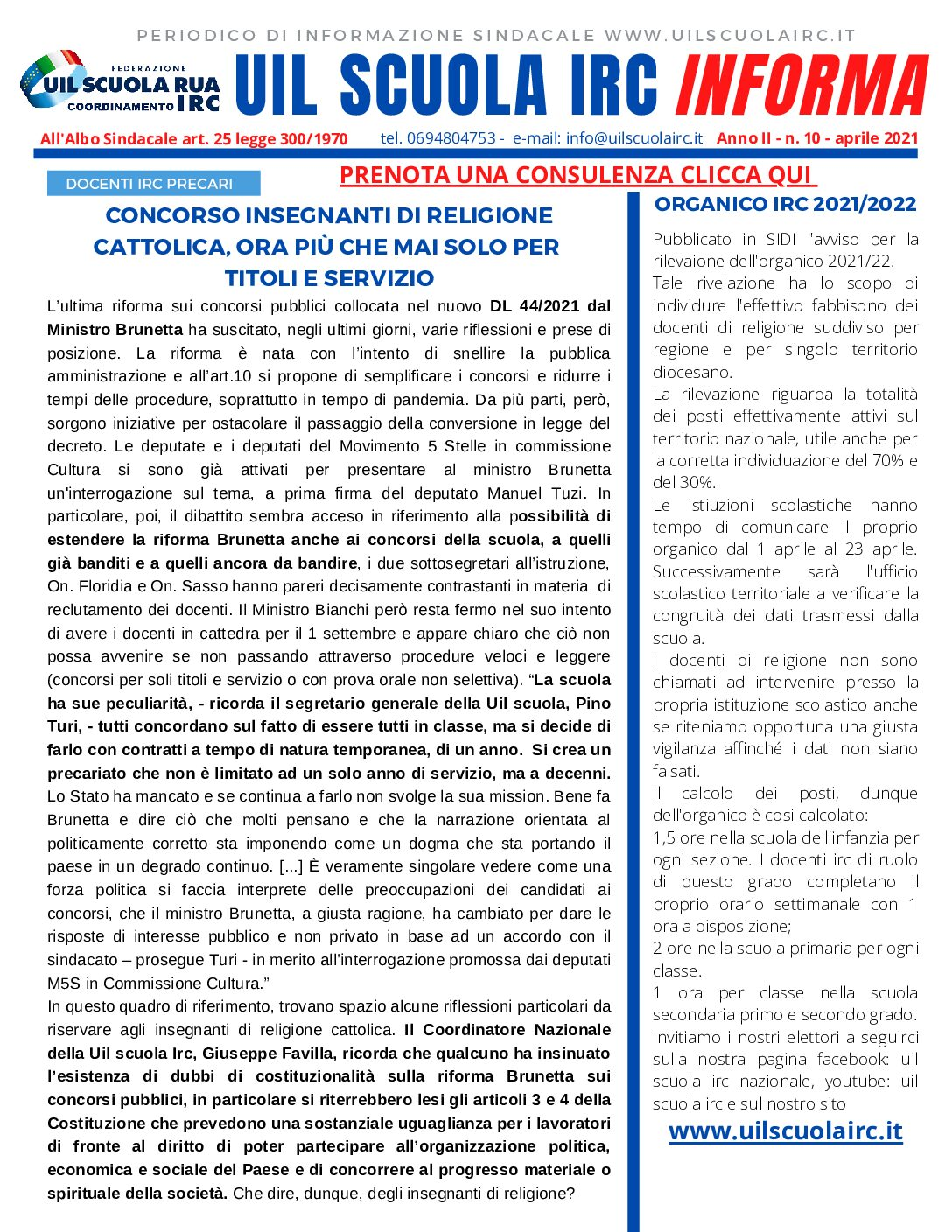 UIL SCUOLA IRC INFORMA N.10