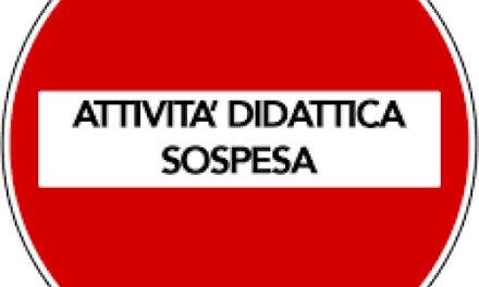 SOSPENSIONE ATTIVITA' DIDATTICHE PER SANIFICAZIONE