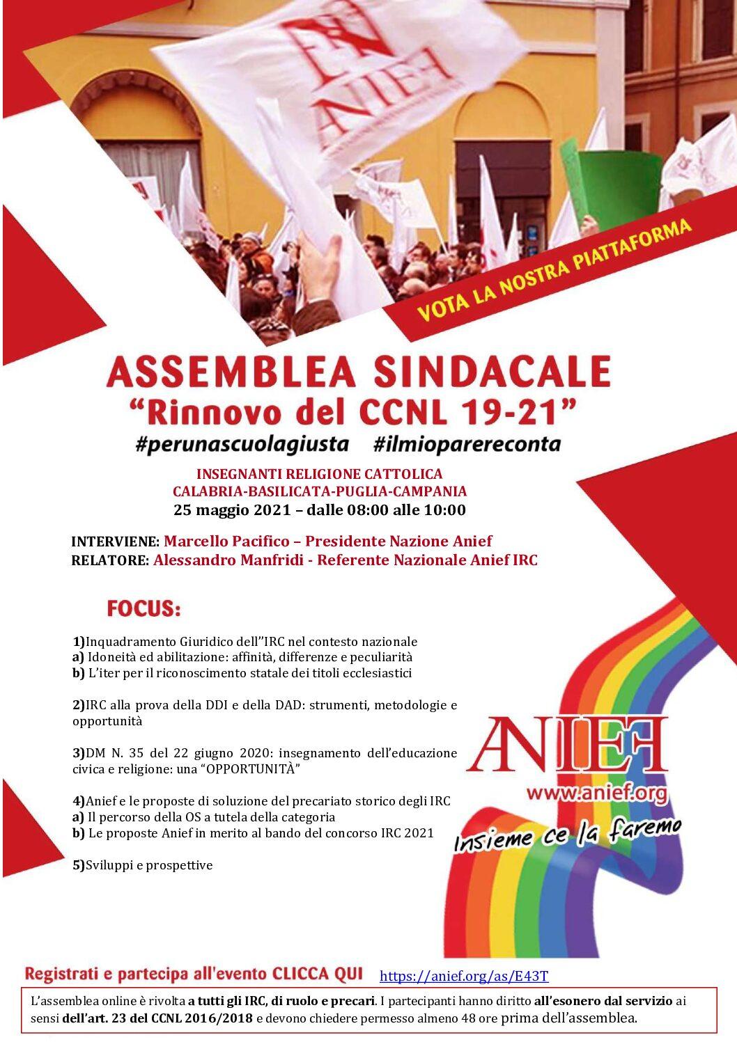 Assemblea Sindacale Territoriale Anief dei docenti di religione cattolica