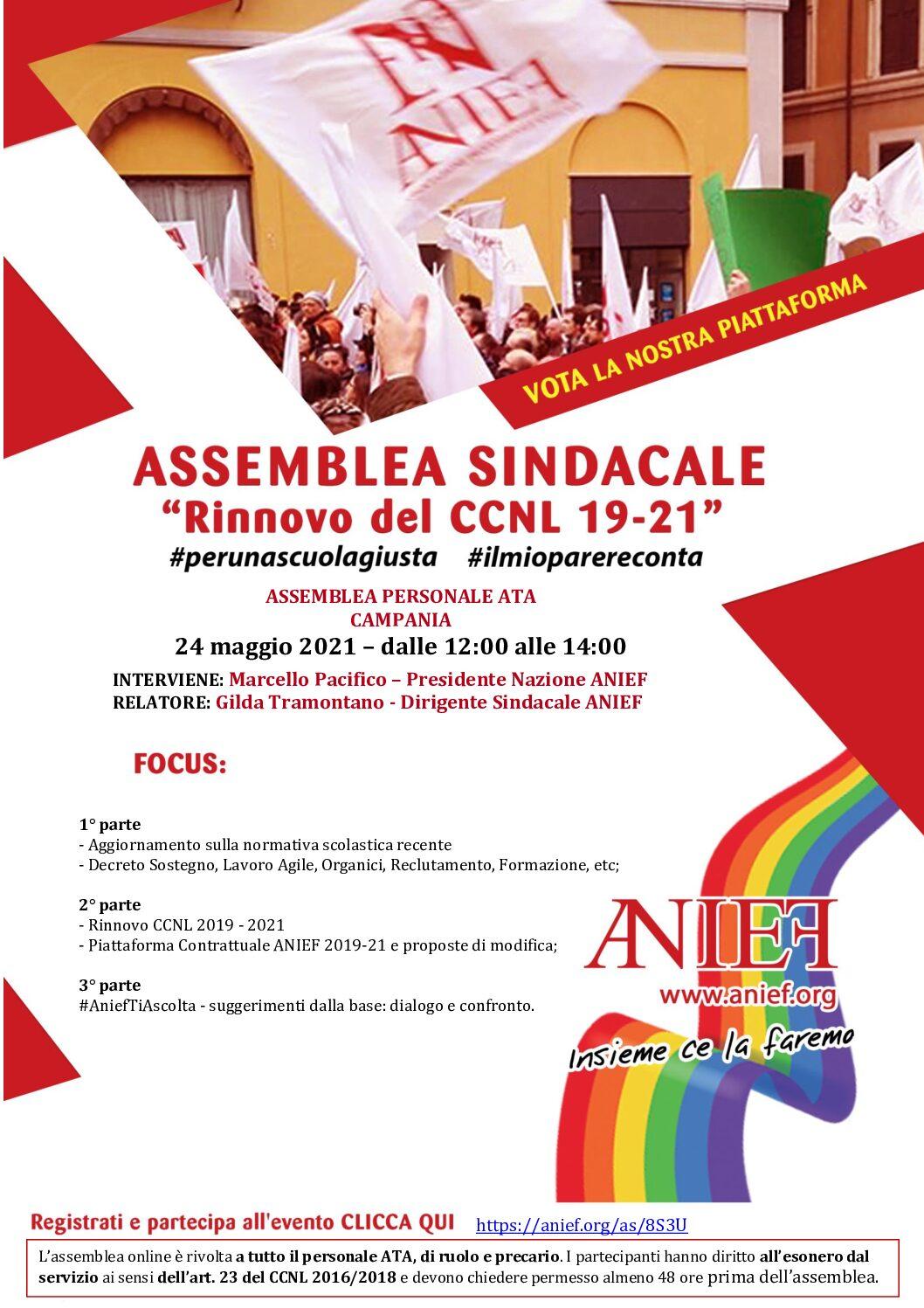 Convocazione USR assemblea personale ATA Campania 24-05-2021