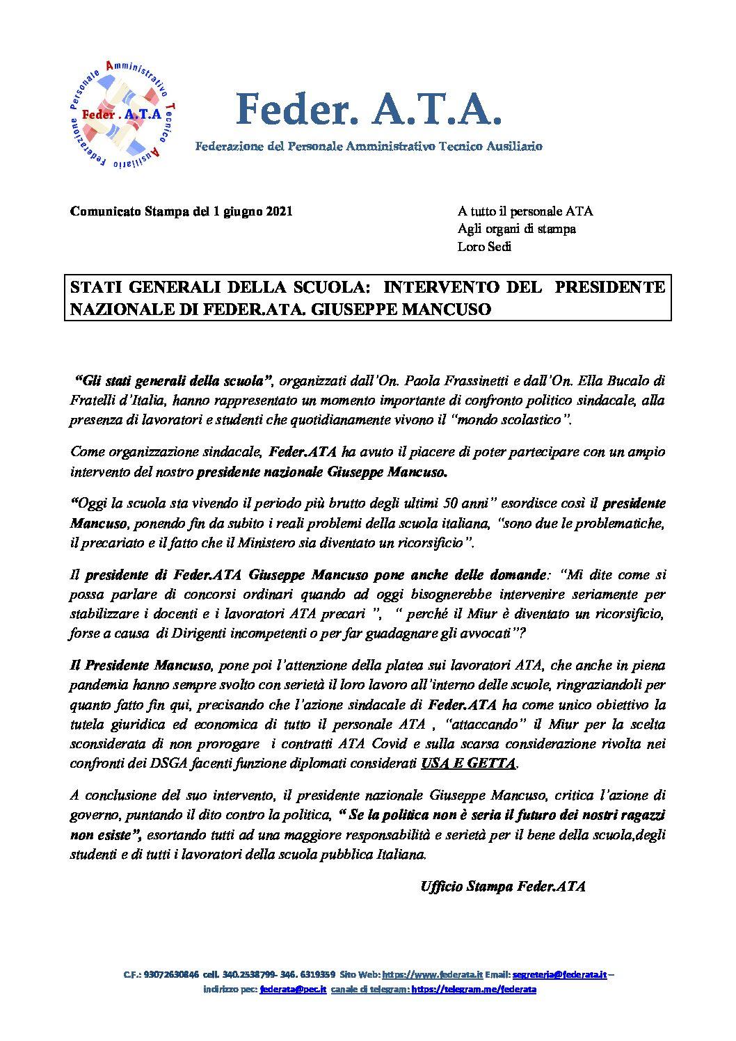 Comunicato stampa Stati generali della scuola